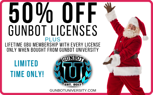 50% off gunbot licenses - plus lifetime GBU membership with every license only when bought from Gunbot University. limited time only. [gunbot university logo] Gunbotuniversity.com. Santa